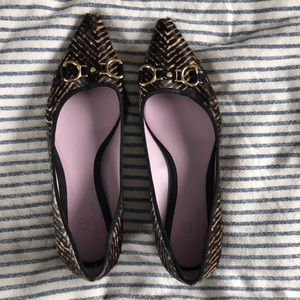 Pointed Toe Fur Flats